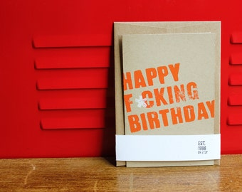 REDUCED 2-PACK - Happy Birthday, Linoleum Block Card with Envelope