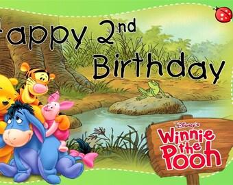 Winnie The Pooh and Friends Custom Vibrant Artist Vinyl Birthday Banner Party Decoration