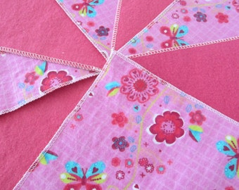 Flannel Wash Cloths/Cloth Diaper Wipes for Baby in Pink with Butterflies and Flowers (10)