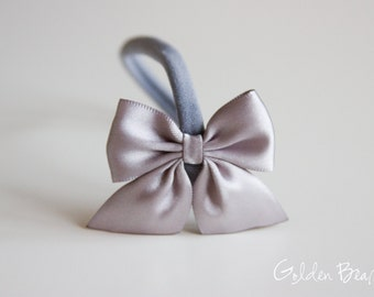 Satin Bow Headband - Flower Girl Headband - Satin Silver Side Bow Handmade Baby to Adult Headband