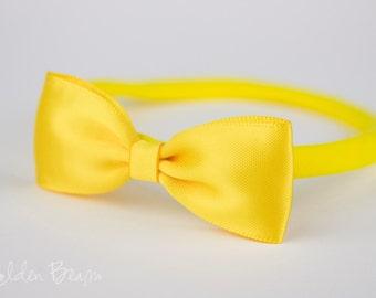 Yellow Baby Headbands Bows - Flower Girl Headband - Small Satin Bright Yellow Bow Handmade Headband