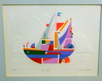 Jerome Rettich Abstract Modern Art Pochoir Embossed Painting Print Low Tide Ship Boat with Sails Provincetown Mass