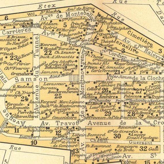 Paris Cemeteries Set of 3 Vintage Maps 1924 Montmartre