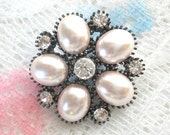 Collectible Vintage Brooch Pin - Ivory Faux Pearl and Rhinestone in Gunmetal Colored Setting