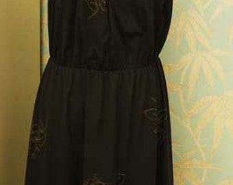 Vintage 1970s Black Dress with Gold Leaf Detail