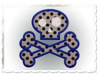 Skull & Crossbones Applique Machine Embroidery Design - 4 Sizes