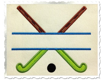 Split Field Hockey Sticks Applique Machine Embroidery Design - 4 Sizes