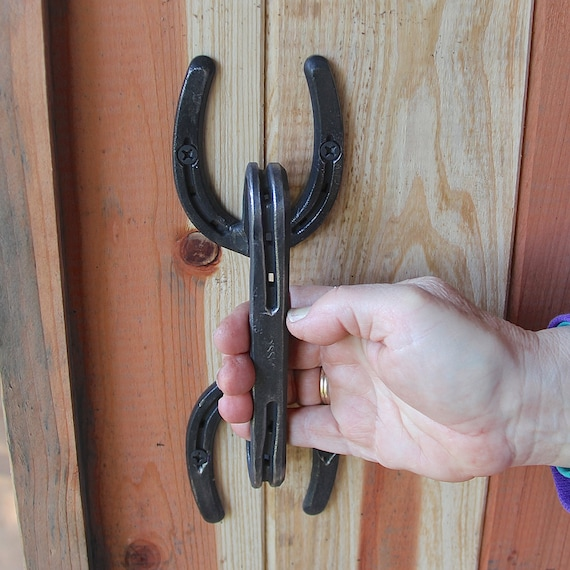 Blacksmith made horseshoe door forged by blacksmithcreations for Things you can make with horseshoes