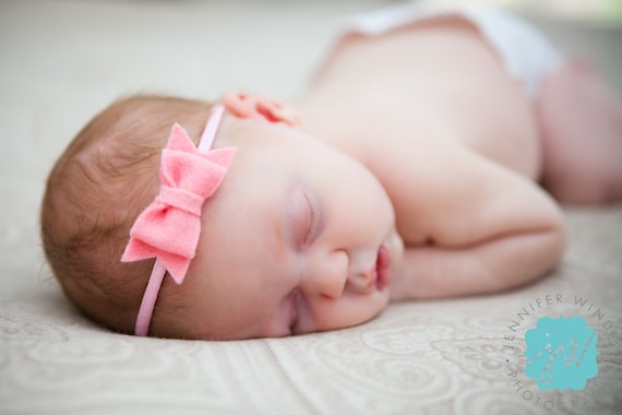 Felt bow headband - YOU CHOOSE COLOR - newborn, infant, toddler, tween, teen, adult - wool felt