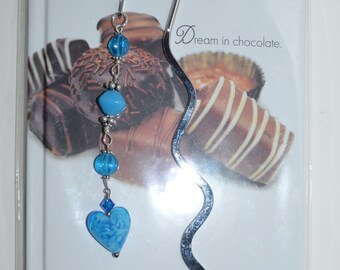 ON SALE Blue Heart Silver Plated Bookmark with FREE Dream in Chocolate Journal