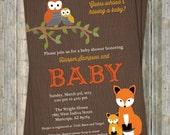 woodland baby shower invitations with owls and fox,  wood grain  Digital, Printable file