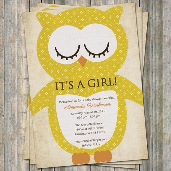 Vintage Owl Baby Shower Invitations