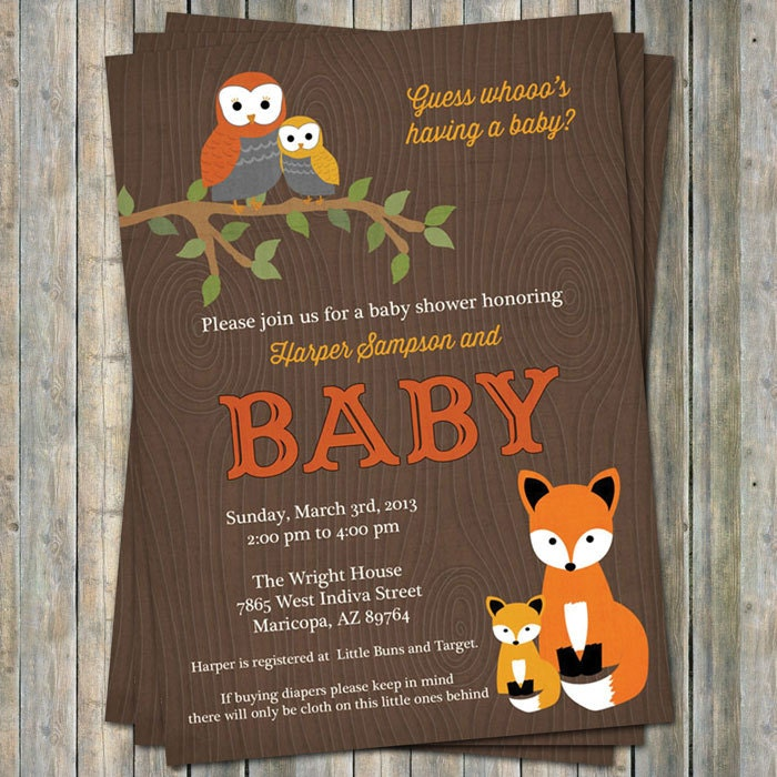 woodland baby shower invitations with owls and fox wood
