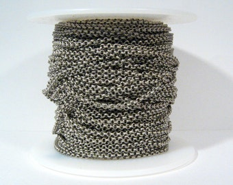 10ft 2.0mm Rolo Chain - Antique Silver - 2.0mm Links - CH48