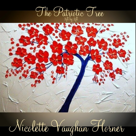 ORIGINAL 3ft x 2ft  Landscape  gallery wrap canvas-Contemporary impasto Red,White & BlueTree  painting by Nicolette Vaughan Horner Free ship