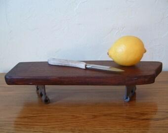 Rustic Walnut Wood Serving Tray Cheese Board Cutting Board  Bread Board with Vintage Stanley Sweetheart Hinge Feet SW