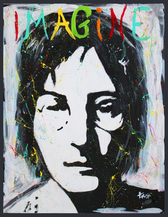 John Lennon Imagine, Beatles, Beatles art, beatles painting,black and white,graffiti art,modern,pop art,warhol, beatles lyrics