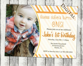 Boy 1st birthday party invitations, stripes, orange, first birthday, digital, printable file, (item67)