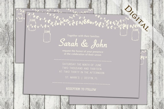 electronic save the date template - mason jar wedding invitation 5x7 save the by