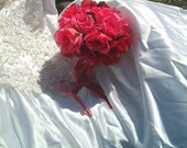 wedding bouquet pink and red silk flower bouquet silk flower bridal bouquet toss bouquet