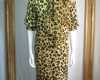 Vintage 1980's Julie Francis Leopard Print Silk Dress with Matching Chiffon Scarf - Size 14