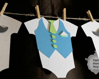 Custom Baby Shower Banner - Onesie Mustache and Vest Theme -  You select colors