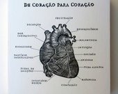 De Coracao Para Coracao, From Heart to Heart Portugese,Relief Print on Wood Panel, encaustic,anatomical heart,original art