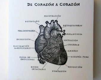 De Corazon a Corazon, From Heart to Heart Spanish,Relief Print on Wood Panel, encaustic,anatomical heart,original art