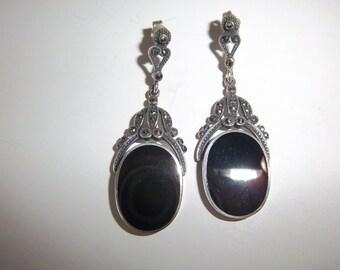 Vintage Sterling & Marcasite Earrings with Black Onyx or Enamel Pierced Post Back