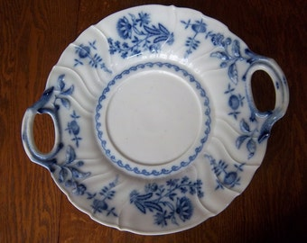 Vintage Haas & Czjzek Schlaggenwald Porcelain Platter w/ Handles Blue and White Floral Pattern