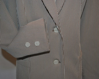Retro Brown Pin Stripe Jacket Medium SNAPPY Mary Poppins