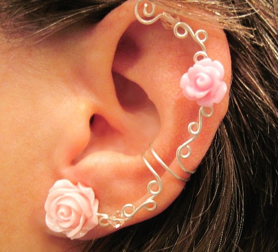 "Items similar to 1 Non Pierced Cartilage Ear Cuff ""Roses ..."