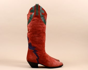 1980s Avant Garde SUEDE Leather Tall Western Riding Boots / Cowboy Snake Python Inlay / Feather Free Bird / Wms Sz 5.5  5 / Euro 35 36