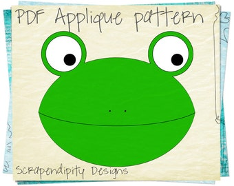 Frog Clothing Applique Template - Animal Quilt Applique Pattern / Toddler Shirt / Frog Fabric Applique / Kids Toddler Shirt Template AP29-D