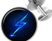 Cufflinks Blue Lightning Bolt Handmade Cuff Links for Dads Fathers Men
