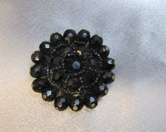 1950 Faceted Black Glass Mourning Brooch