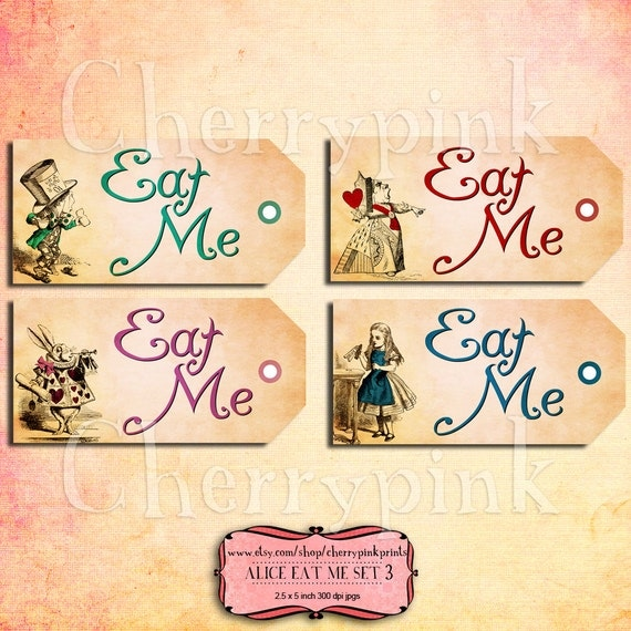 Alice vintage tags eat me set 3 alice in by cherrypinkprints for Alice in wonderland tags template