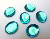 6 glass cabochons, 12x10mm, aqua