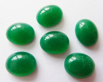 6 glass cabochons, 10x8mm, jade green, oval