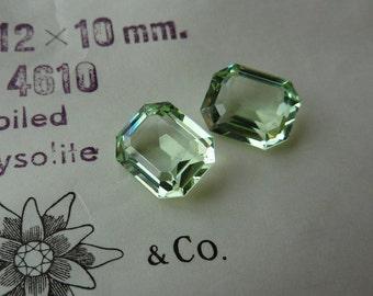 2 glass jewels, 12x10mm, Swarovski, chrysolite