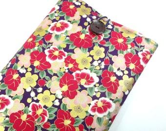Gorgeous Fabric Macbook Sleeve, Unique gift Ideas, Padded Macbook Covers, Japanese Kimono Cotton Fabric Peony Purple