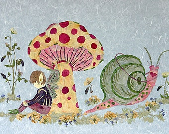 Children's Fantasy Art - Under the Toadstool - Original Fairy Design - Make-Believe 13 x 18 Giclee Print