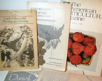 Vintage Gardening Booklets 1950 - 1970   Strawberries Grapes Dwarf Fruit Trees