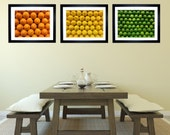 Kitchen Decor, Bar Decor, Fruit Print, Citrus Print, Set of 3 Fruit Pictures, Orange  Lemon Lime Art Print - jessicareisspix