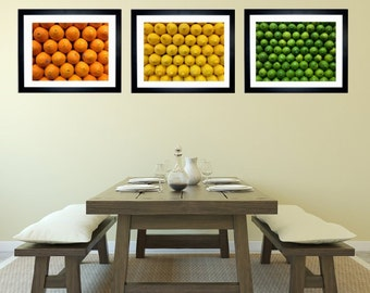 Set of 3 Citrus Fruit Art Print Kitchen Decor, Bar Decor, Food Photography, Orange  Lemon Lime Art Print