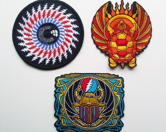 Grateful Dead set of 3 embroidered patches - lightning bolt eye, Franklin's Tower scarab, Terrapin - original artwork - not pin poster