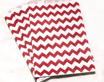 10 red paper goodie bags, red white chevron favor bags, party favor bags, party supply