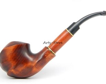 """Tobacco Smoking pipe """"Expression"""" Carved of Pear wood, Great Collectible  plus GIFT Pouch"""