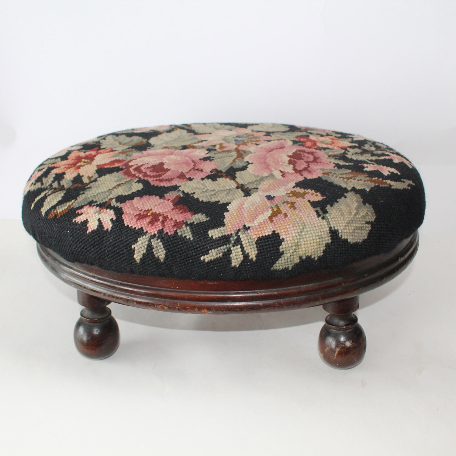 Vintage Needlepoint Footstool Or Foot Rest