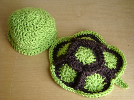 Free Crochet Pattern Turtle Photo Prop : Newborn Baby Turtle Hat and Shell Photo Prop Crochet Newborn